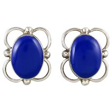 Big Blue Stone and Sterling Silver Earrings