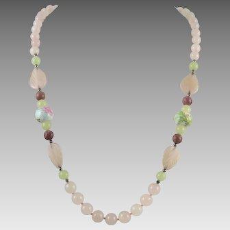 Rose Quartz Aventurine and Porcelain Bead Necklace