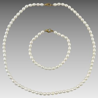 Freshwater Cultured Pearl Necklace and Bracelet Set