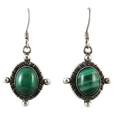 Malachite and Sterling Silver Dangle Style Earrings