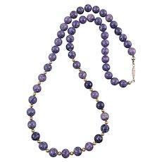 Purple Jasper Bead Necklace