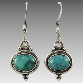 Turquoise and Sterling Silver Dangle Earrings