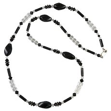 Black Onyx and Faceted Glass Crystal Bead Necklace