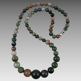 Indian Agate Graduated Bead Necklace