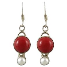 Enhanced Red Coral and Cultured Pearl Sterling Silver Earrings