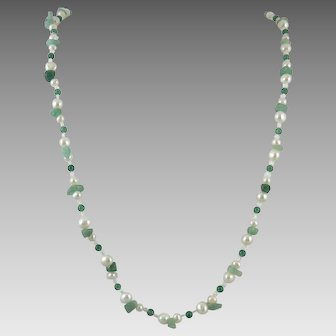 Aventurine and Freshwater Cultured Pearl Necklace