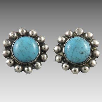 Sterling Silver Blue Stone Flower Earrings Screw Back Style