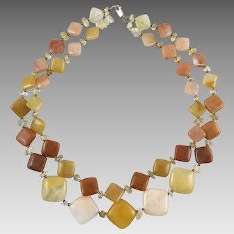 2 Strand Peach Quartz Aventurine Square Bead Necklace