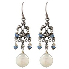 Sterling Silver Chandelier Earrings with Cultured Coin Pearl and AB Glass Crystals