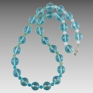 Faceted Blue Glass Bead Necklace