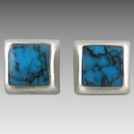 Turquoise and Sterling Silver Square Button Earrings