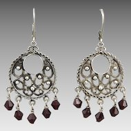 Sterling Silver Filigree Earrings With Faceted Garnet Dangles