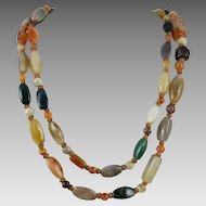 Long Mixed Agate Bead Necklace