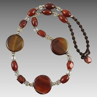 Red Agate Translucent Disk Bead Necklace