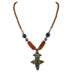 Carnelian, Glass Bead and Brass Pendant Necklace