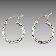 Sterling Silver Diamond Cut Classic Hoops