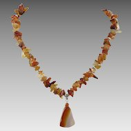 Polished Carnelian Chip Pendant Necklace