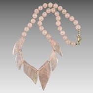 Rose Quartz Round and Leaf Shaped Bead Necklace