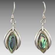 Sterling Silver and Colorful Abalone Dangle Earrings