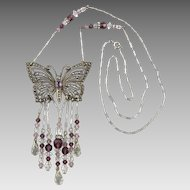 Sterling Silver Marcasite and Amethyst Butterfly Necklace