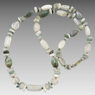 Mixed Gemstone Bead Necklace Agate and Rock Crystal