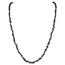 Polished Natural Red Garnet Bead Long Strand Necklace