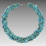 Turquoise Howlite Polished Chip Woven Bib Style Necklace