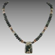 Rhyolite Pendant and Bead Necklace