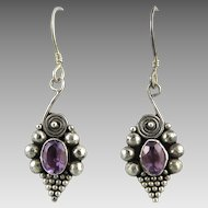 Amethyst and Sterling Silver Bali Style Dangle Earrings