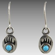 Turquoise and Sterling Silver Bear Paw Dangle Earrings