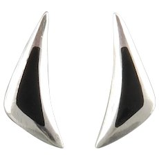 Sleek Sterling Silver and Black Onyx Earrings