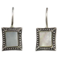 Mother of Pearl and Sterling Silver Square Earrings