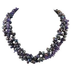 Triple Strand Amethyst and Cultured Black Peacock Pearl Necklace