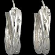 Sterling Silver Gypsy Set CZ Hoop Earrings