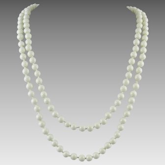 Vintage Milk Glass Long Strand Necklace