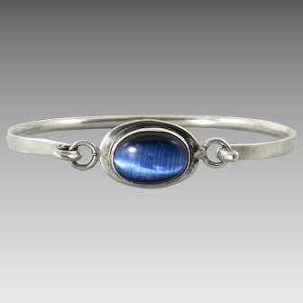 Blue Cat's Eye Glass Sterling Silver Bracelet
