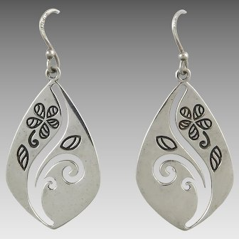 Sterling Silver Cut Out Dangle Earrings