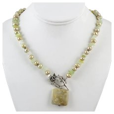Serpentine Cultured Pearl and Agate Sterling Silver Pendant Designer Necklace