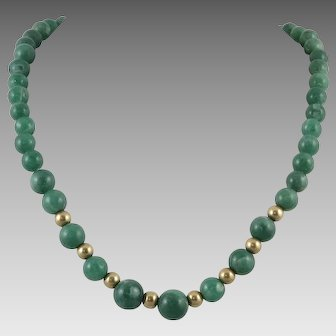 Graduated Aventurine Bead Necklace