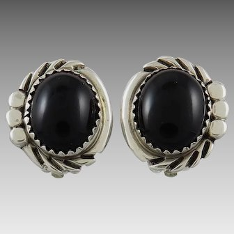 Black Onyx Sterling Silver Southwestern Clip Style Earrings