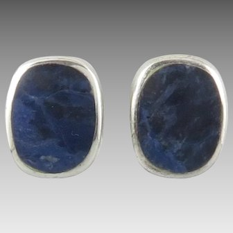 Bezel Set Sodalite and Sterling Silver Earrings Clip Backs