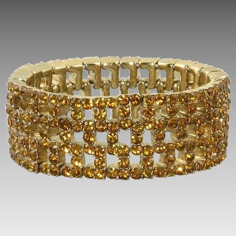 Golden Rhinestone Stretch Bracelet