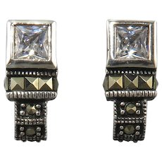 Marcasite Sterling Silver and CZ Earrings