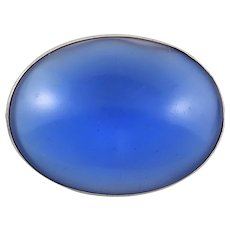 Blue Glass Chalcedony Color Sterling Silver Brooch