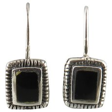 Black Onyx and Sterling Silver Rectangle Earrings