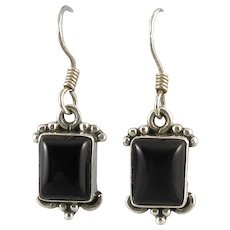 Black Onyx and Sterling Silver Earrings