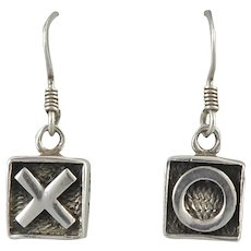 Sterling Silver X and O Dangle Earrings