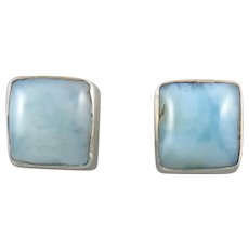 Larimar and Sterling Silver Square Stud Earrings