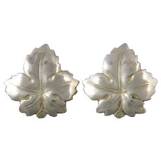 Sterling Silver Leaf Earrings Screw Back Style