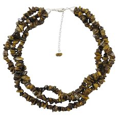 3 Strand Tiger Eye Necklace with Sterling Silver Clasp